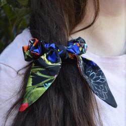 Шелковая резиночка для волос c ушками, цветочный принт D&G