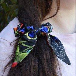 Шовкова резиночка для волосся с вушками, квітковий принт D&G