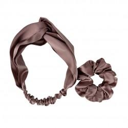 Шовковий набір: пов'язка для волосся + резиночка, Молочний шоколад