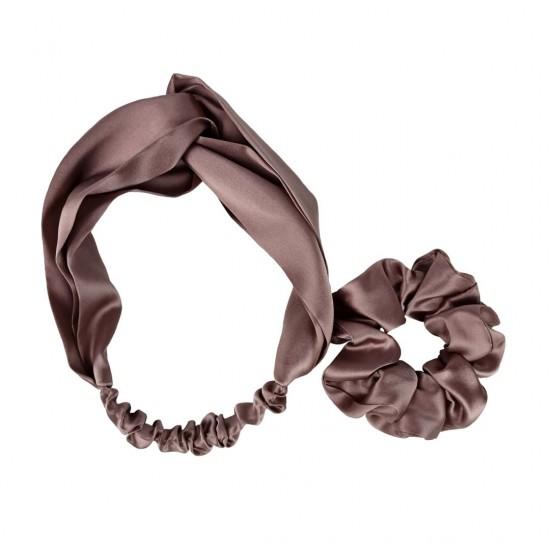 Silk set: headband + scrunchie, Milk chocolate