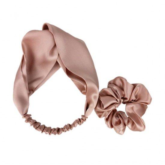 Silk set: headband + scrunchie, Rose beige