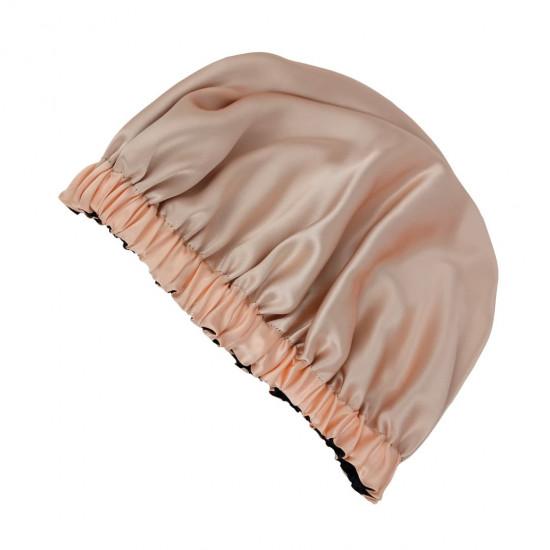 Double Sided Silk Sleep Cap, Bonnet Silk Sleep Cap, Black / Peach