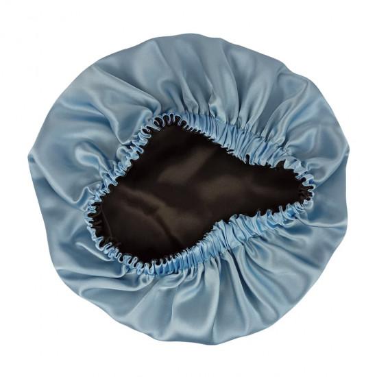 Double Sided Silk Sleep Cap, Bonnet Silk Sleep Cap, Black / Sky Blue