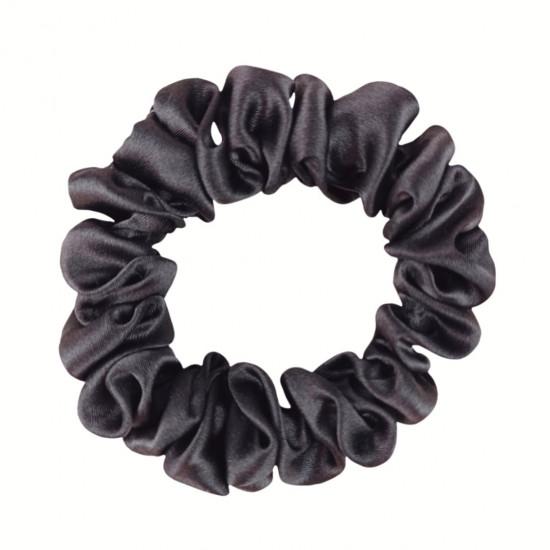 Narrow Silk scrunchie, Graphite